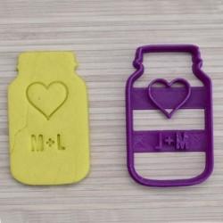 Emporte-pièce en forme de Bocal à Cookies avec coeur et initiales (personnalisable)
