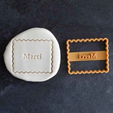 """Petit Beurre """"Merci"""" cookie cutter"""