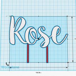 Décoration de gâteau Prénom (personnalisable) XL - Modèle Rosie - Cake Topper